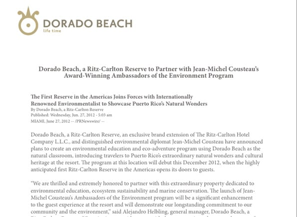 06.27.2012 Dorado Beach, a Ritz-Carlton Reserve to Partner with Jean-Michel Cousteau's Award-Winning Ambassadors of the Environment Program