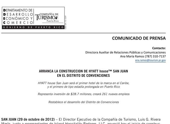 Comunicado de Prensa- Hyatt House San Juan